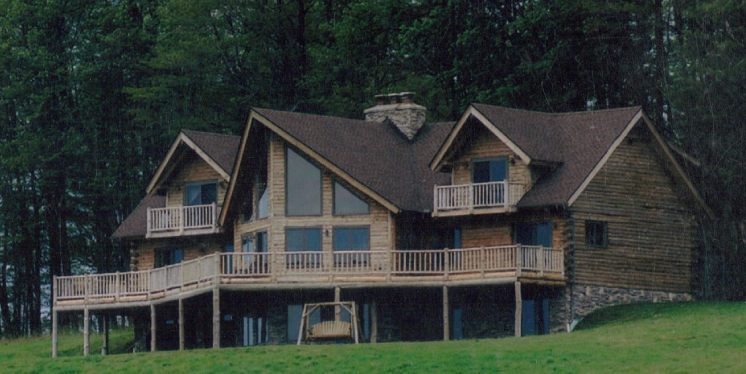Two story roosevelt model of treetop log homes and cabins for 2 story log homes
