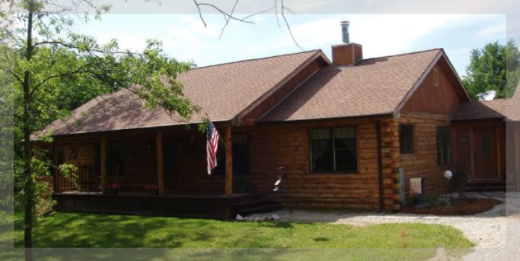 The shenandoah is a ranch style log home treetop log for Ranch style log homes