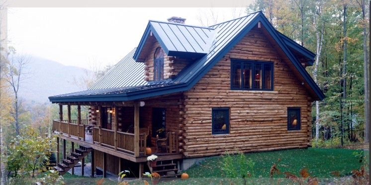 log home with loft and metal roof