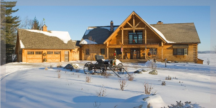 Large log home with covered porch and fireplace