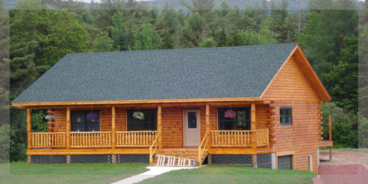 The mohawk is a ranch style log home treetop log homes is for New construction ranch style homes in illinois